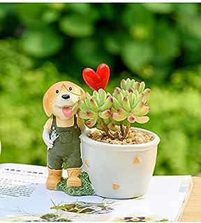 FHISD Animal Mini Doggy Shape Planter Succulent Flower Pots Resin Plant Pot for Plant Flower Cactus Bonsai Garden Home Dec...