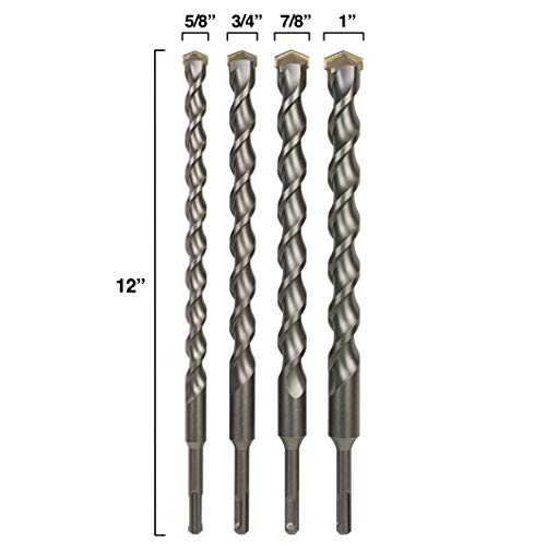 Sabre Tools 4-Piece 12in SDS Plus Drill Bit Set, Carbide Tipped, Rotary Hammer Drill Bits for Brick, Stone, Concrete, 5/8in x 12in, 3/4in x 12in, 7/8in x 12in, 1in x 12in