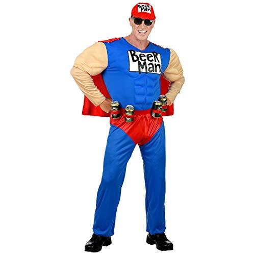 NET TOYS Lustiges Beerman-Kostüm für Männer | Blau-Rot in Größe M (50) | Witzige Herren-Verkleidung Bier-Kostüm Superheld | Genau richtig für Straßenkarneval & Mottoparty