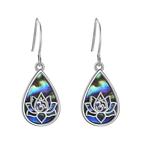 Pendientes de flor de loto de plata de ley para mujer