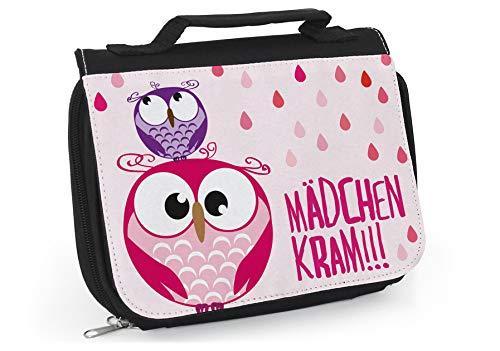 Kulturbeutel Mädchen in rosa - Süße Waschtasche Eule - Mädchen Kram - Waschbeutel zum aufhängen - Kosmetiktasche für Frauen - Kulturbeutel Frauen - Niedliche Tasche für Badutensilien - Eulchen WT037