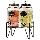 Style Setter Manchester Beverage Dispenser Set of 2 Cold Drink Dispenser w/ 3.1 Liter, Large (210235-2RB)