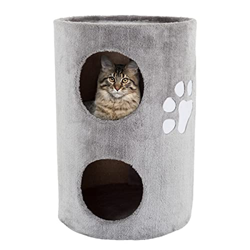 PETMAKER Cat Condo 2 Story Double Hole with Scratching Surface, 14' x 20.5', Gray (80-PET5080)