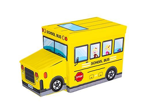 Invita Faltbare Aufbewahrungsbox mit Deckel Spielzeugkiste fürs Kinderzimmer zum Ordnen und Organisieren Das perfekte Ordnungssystem auch als Hocker mit Stauraum (Schulbus)