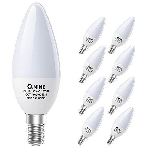 QNINE 8-Pack E14 Candle Bulb, E14 LED Candle Bulbs 6W(Equivalent to 60W), 540lm, Cool White 5000K, E14 LED Light Bulbs, SES E14 Candle Bulb, Non-Dimmable [Energy Class A+]