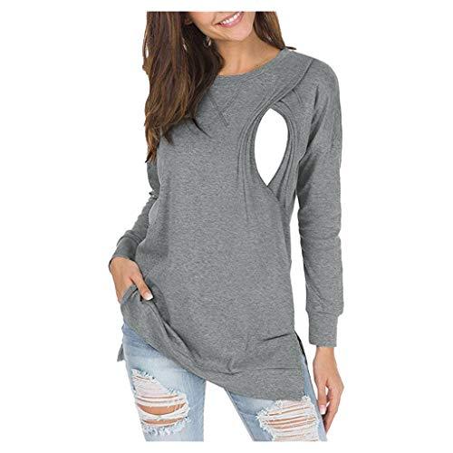 Lenfesh moda ciążowa duże rozmiary 2 w 1 bluza ciążowa bluza ciążowa bluzka do karmienia, miękka odzież ciążowa dla kobiet w ciąży koszulka z długim rękawem z funkcją karmienia