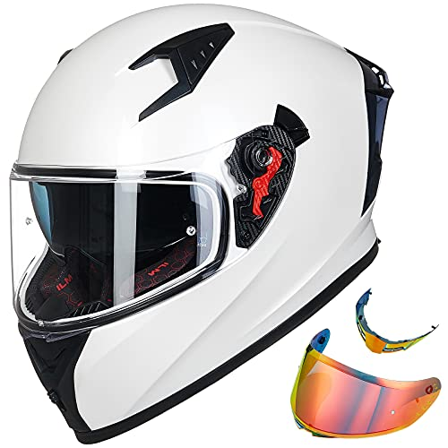 ILM Motorcycle Helmet Full Face with Pinlock Compatible Clear&Tinted Visors and Fins Street Bike...