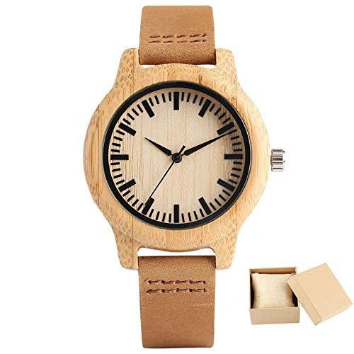 Reloj de Pareja de Madera de bambú Reloj de Pulsera de Cuarzo con Pantalla analógica Negra Minimalista Reloj de Pulsera de Cuero marrón Amantes de los Relojes Regalo