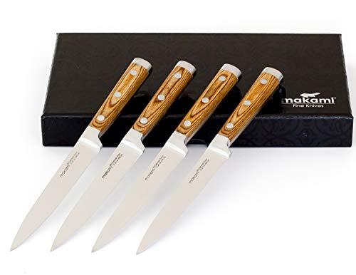 makami 4er-Set Premium Steakmesser mit scharfer, glatter Klinge aus deutschem Messerstahl und Griff aus Pakkaholz