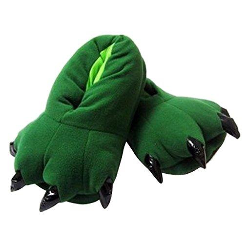 Aivtalk Damen Herren Flannel Schuhe Unisex Winter Hausschuhe Tier Cosplay Kostüme Zubehör Tierkostüme - Grün L für Größe 38-45