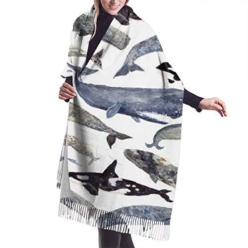 JJsister Damen Pashmina Wickelschals, Whales Women Scarf Schal Winter Wrap Kopftücher