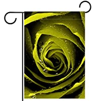 ガーデンフラッグ、屋外看板吊り飾り、ロマンチックな緑のバラの花 、テラス鉢植えデッキ用28x40インチ