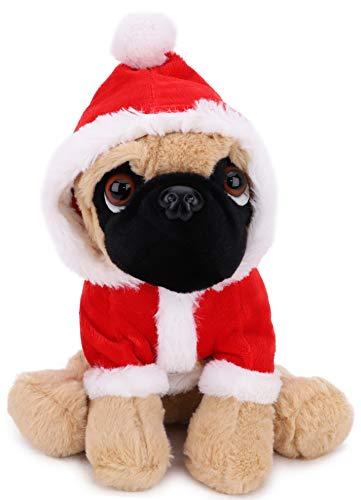 Toyland 23cm Kuscheltier Santa Mops Stofftier - Neuheit Weihnachtsplüsch - Geeignet für alle Altersgruppen