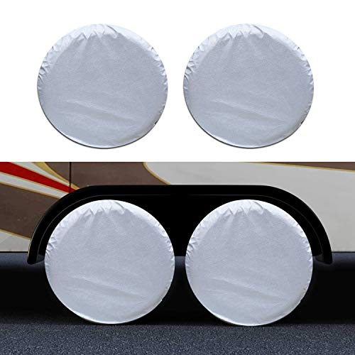GUNHYI RV Tire Cover Set of 4 for Travel Trailers Camper, Dual Axle Wheel Covers, Sun Rain Snow UV Protection, Universal Fit 27-29 Inch Tire Diameter