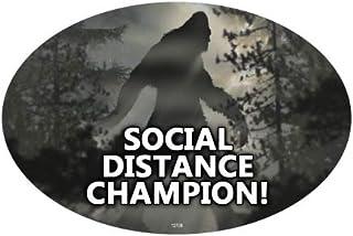 SJT ENTERPRISES, INC. Social Distance Champion! - Bigfoot Shadow/Silhouette Oval Car Magnets (SJT12705)