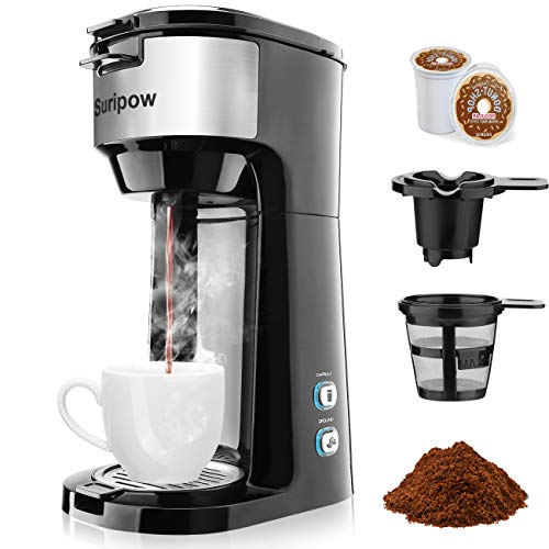 Coffee Maker,Single Serve Coffee Makers for K-Cup Pod & Ground Coffee, Small Coffee Machine,Fast brewing,Strength Control and Self Cleaning Function