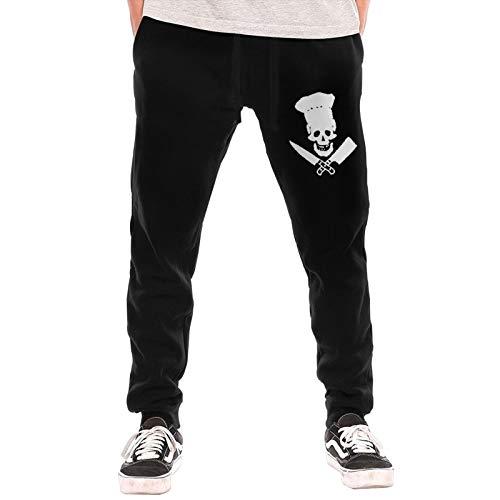 M009USFA Skull-Chef Cooking Skull Sweatpants, Black Fleece Gym Jogger Sweatpants for Men and Women