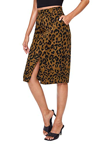 WDIRARA Women's Comfort Leopard Print Split Corduroy Pencil Skirt Brown M