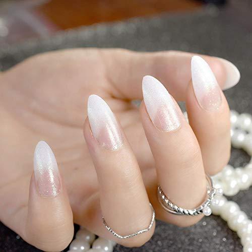 TJJF Shimmer Glitter French Nails White Sharp Medium Full Wrapped Acrylic False Nail Women Makeup Diy Finger Tips Accessories