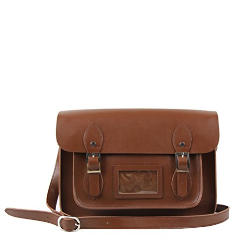 Yasmin Leather Satchel YLS013 - 13' Medium (Brown)