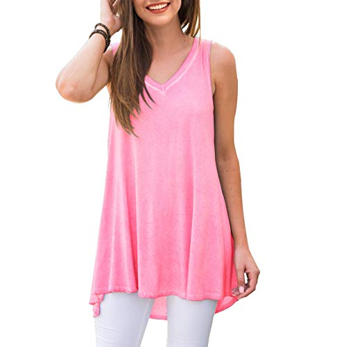 AWULIFFAN Women's V Neck Tank Tops Loose Casual Sleeveless Shirts Blouses (Pink,Small)