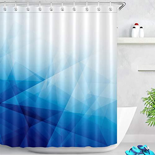 LB Duschvorhang Geometrisch 180x200cm Blau Weiss Bad Vorhang mit Haken Extra Lang Polyester Wasserdicht Antischimmel Badezimmer Gardinen