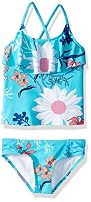 Kanu Surf Girls' Toddler Charlotte Flounce Tankini Beach Sport 2-Piece Swimsuit, Paige Aqua Floral, 2T