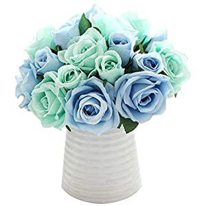 zzJiaCzs Artificial Camellia,1 Bouquet 9 Head Faux Silk Rose Fake Flowers Wedding Party Home Decoration – Peacock Blue