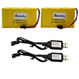 Bloimky 2 Pack 7.2V 700mAH NiCd AA Battery Pack and USB Charger Cable for Old Version 15 Channel 2.4G Huina 1550 550 RC Excavator 7.2V NiCd Battery and USB 2