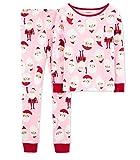 Carter's Little Girls' Christmas 2-Piece Snug Fit Cotton PJs (3T, Pink/Red Santa)