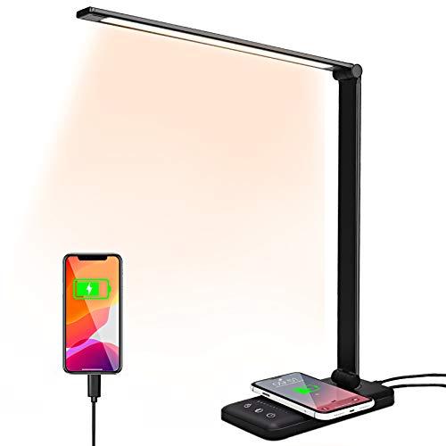 Lámpara de escritorio LED, lámpara de mesa con carga inalámbrica, lámpara de Escritorio con Control táctil, 10 Niveles de Luminosidad 5 Modos, Lámpara Plegable Negra