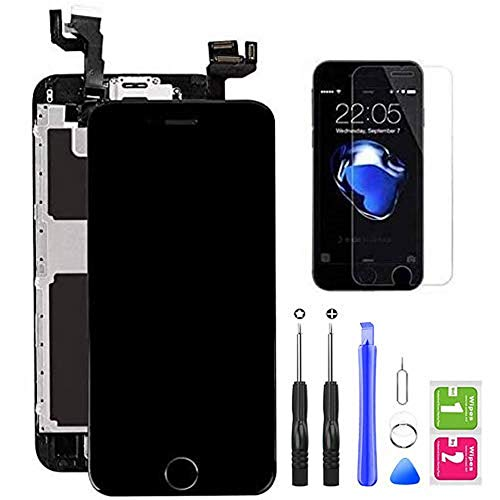 "Hoonyer Display per iPhone 6S Touch Screen LCD Digitizer Schermo 4,7"" Utensili Inclusi(con Pulsante Home, Fotocamera, sensore Flex) Nero"