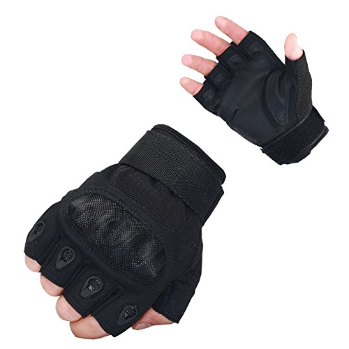 Nachvorn Men's Tactical Military Rubber Hard Knuckle Outdoor Gloves for Camping Cycling Motorcycle Hiking Powersports Airsoft Paintballg,Fingerless,Black-L