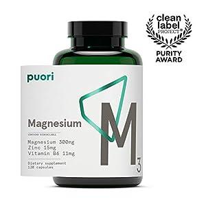 Puori Organic Magnesium Zinc Supplement – 300mg x 120 Vegan Capsules – M3 for Sleep & Immune Support, Muscle Recovery, Leg Cramps – Zinc 15mg, Vitamin B6 11mg, Malic Acid 300mg