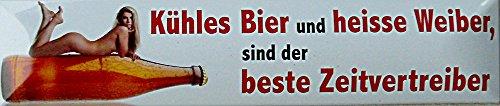 Bière fraîche et Heisse WEIBER Plaque de rue en fer-blanc 16 x 3,5 cm Str magnétique de M 41