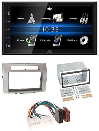 caraudio24 JVC KW-M24BT 2DIN Bluetooth MP3 AUX USB Autoradio für Toyota Corolla Verso 04-09 Silber