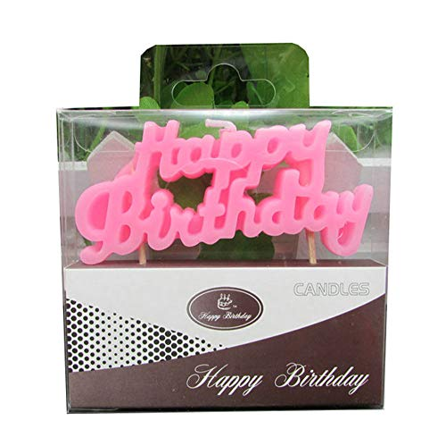 Wawabeauty Pink Happy Birthday Letter Candle for Cake,Alphabet Birthday Candle for 1 2 3 4 5 6 7 8 9 10 Years Old Party Cake,1st 2rd 3nd 4th 5th 6th 7th 8th 9th 10th Cake Topper (Pink)
