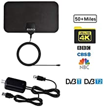 TV Antenna, [2019 Newest] Indoor Digital HDTV Amplified Antennas Freeview 4K 1080P HD VHF UHF for Local Channels 50-80 Miles Range with Amplifier Signal Amplifier Support All TV's