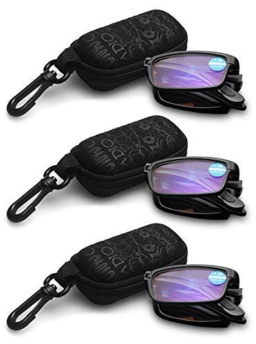 KOOSUFA Faltbare Lesebrille Herren Damen Anti Blaulicht TR90 Zusammenklappbar Leicht Lesehilfe Anti Müdigkeit Vollrandbrille Schwarz mit Etui 1.0 1.5 2.0 2.5 3.0 3.5 4.0 (3x Schwarz, 1.5)