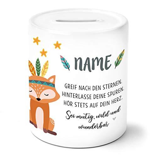 OWLBOOK Boho Fuchs Kinder Spardose Personalisiert mit Namen Geschenke Geschenkideen für Mädchen zum Geburtstag Weihnachten Einschulung Taufe Geburt Sparschwein