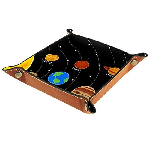 Bandeja de dados de metal para juegos de rol, DND y otros juegos de mesa, soporte para dados, mesa de protección, sistema solar de cuero PU plegable de doble cara