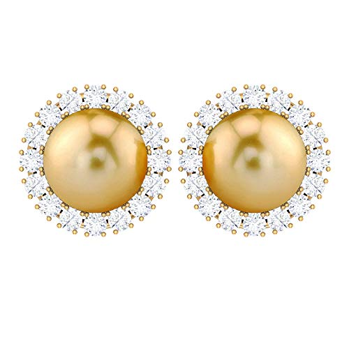 Solitaire 9 CT 8 MM South Sea Pearl Earring, HI-SI 0.82 CT Diamond Halo Earring, Pearl Stud Earring, Unique Wedding Earring, Cocktail Earring, 14K Yellow Gold, Pair