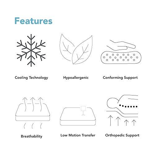 Classic Brands Cool Gel 1.0 Ultimate Gel Memory Foam 14-Inch Mattress with BONUS 2 Pillows, Queen