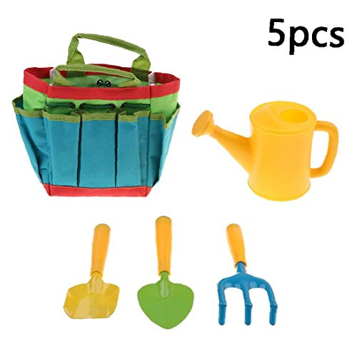 Newin Star Enfants Jardinage Set 5PCES Jardinerie Jardinage Sac à Outils Set Mini Jardin Jouets Cadeaux pour Tout-Petits Enfants Multicolor-B