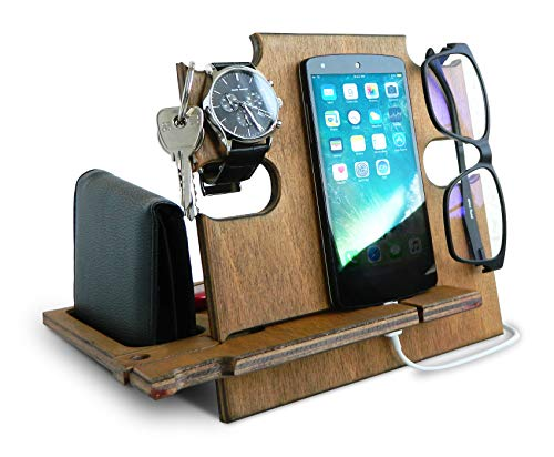 Wooden Docking Station for Men, Smartphone Stand, Desk Organizer Teak Idea, Nightstand Holder for...