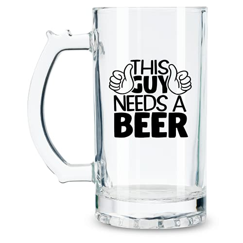 Funny Beer Glasses with Handle for Men, Beer Lovers - 17 oz Heavy...
