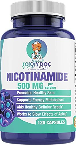 Nicotinamide 500 mg - Vitamin B3 – Energy & Cell & Skin Health Supplement - Gluten Free - 120 Veggie Caps by Foxxy Doc