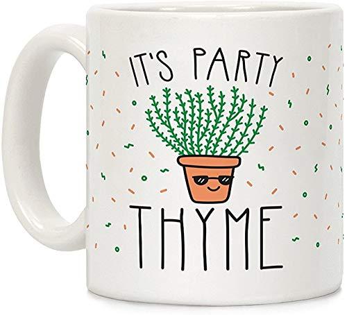 Koffie mok, Thee Beker, Het is Partij Tijm Wit 11 Ounce Keramische Koffiemok