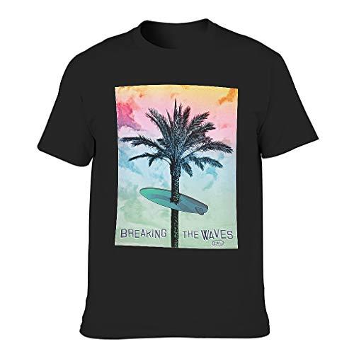 Wellen brechen Surfboard Fir 3D Kreativ Herren T-ShirtsRundhalsausschnittTee Herren Basic Kurzarm T-Shirt TopT-Stücke Black m