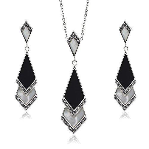 Gemondo plata de ley y madreperla, Onix & Marcasite Art Deco Pendientes & 45cm Necklace Set